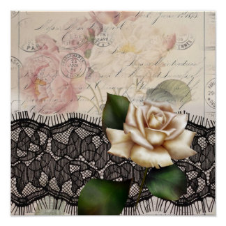 Elegant vintage black lace white rose poster
