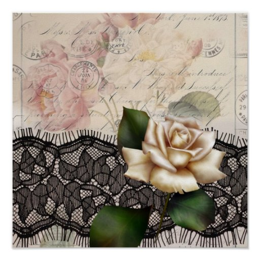 Elegant vintage black lace white rose posters