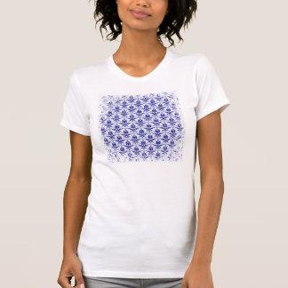 Elegant Vintage Blue and White Damask Pattern Tee Shirt