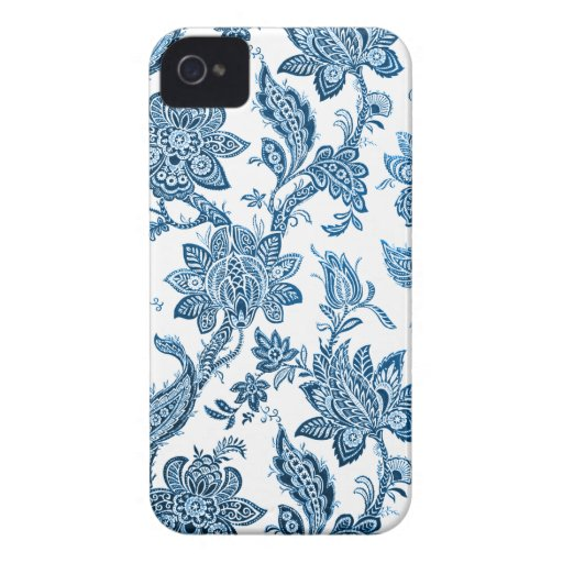 Elegant Vintage Blue and White Floral Wallpaper Blackberry Bold Cases