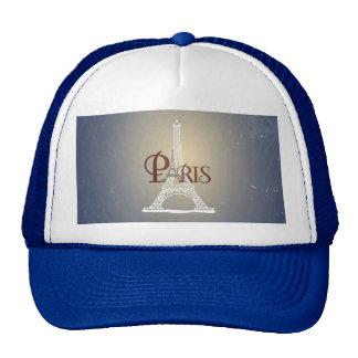 Elegant Vintage Blue Eiffel Tower Paris Design Mesh Hat
