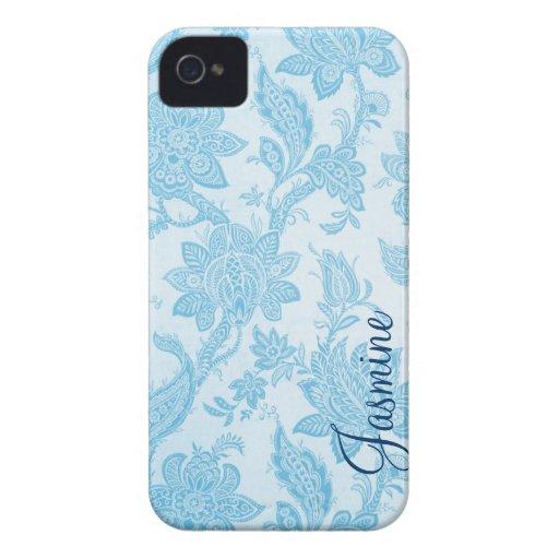 Elegant Vintage Blue Floral Wallpaper Personalized Blackberry Bold Covers