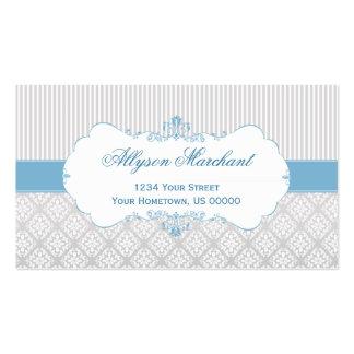 Elegant Vintage Blue Gray White Damask and Stripes Business Card Template