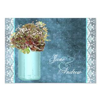 """Elegant Vintage Blue Hydrangea Mason Jar Wedding 5"""" X 7"""" Invitation Card"""