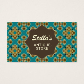 Elegant Vintage Blue Pattern | Antique Dealer Business Card