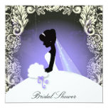 Elegant Vintage Bridal Shower Purple  Invitation