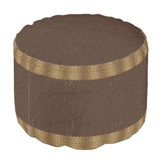 Elegant Vintage Brown leather Gold Border Pouf