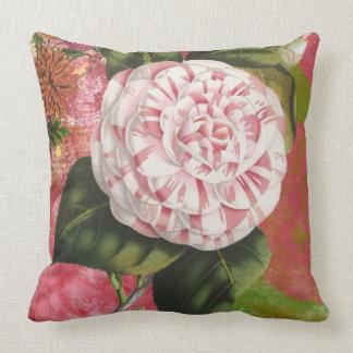 Elegant Vintage Camellia Floral Collage Cushion