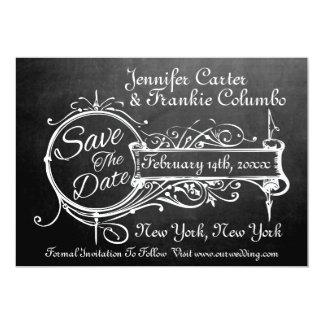 Elegant Vintage Chalkboard Save The Date Wedding Card