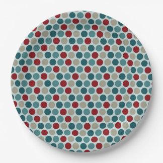 Elegant vintage christmas polka dots 9 inch paper plate