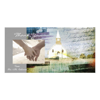 elegant vintage church chapel country thank you customised photo card