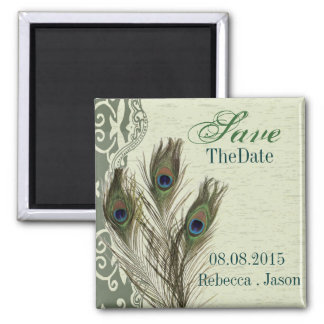 elegant vintage country peacock save the date square magnet