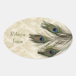 elegant vintage cream damask peacock wedding stickers