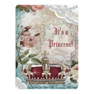 "Elegant Vintage Crown Princess Baby Shower 6.5"" X 8.75"" Invitation Card"