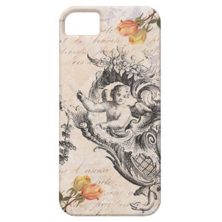 Elegant Vintage Cupid, Roses and Baroque Swirls iPhone 5 Cover