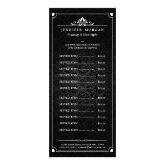 Elegant Vintage Damask Beauty Salon Price List Custom Rack Cards