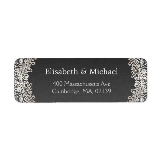 Elegant Vintage Dark Silver Damask Classic Formal Return Address Label
