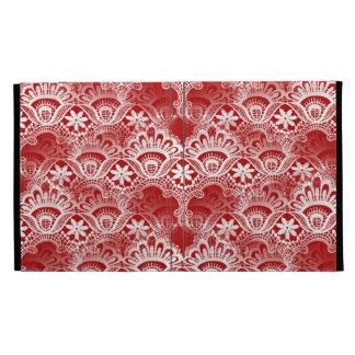 Elegant Vintage Distressed Red White Lace Damask iPad Folio Covers