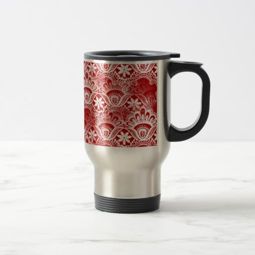 Elegant Vintage Distressed Red White Lace Damask Coffee Mugs