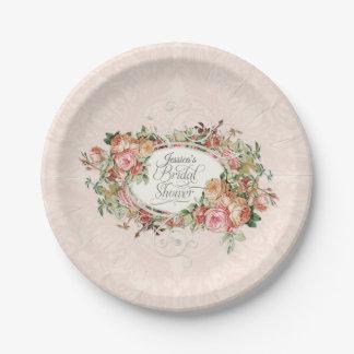 Elegant Vintage English Blush Rose Bouquet Lace Paper Plate