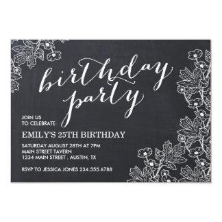 Elegant Vintage Floral Chalkboard Birthday Party 13 Cm X 18 Cm Invitation Card