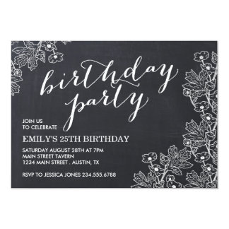 Elegant Vintage Floral Chalkboard Birthday Party Card