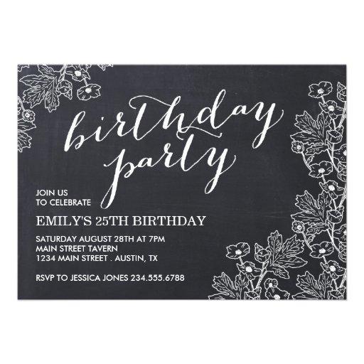 Elegant Vintage Floral Chalkboard Birthday Party Custom Invitations