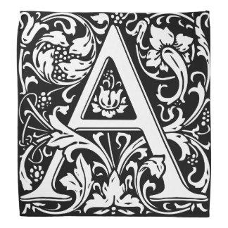 Elegant Vintage Floral Letter A Monogram Bandana