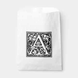 Elegant Vintage Floral Letter A Monogram Favour Bag