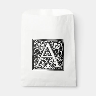 Elegant Vintage Floral Letter A Monogram Favour Bags