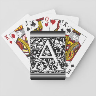 Elegant Vintage Floral Letter A Monogram Playing Cards