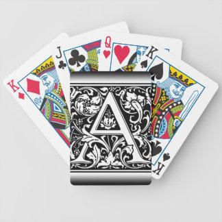 Elegant Vintage Floral Letter A Monogram Poker Deck