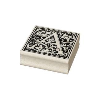 Elegant Vintage Floral Letter A Monogram Rubber Stamp