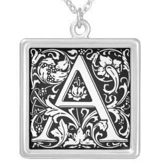 Elegant Vintage Floral Letter A Monogram Silver Plated Necklace