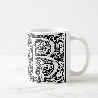 Elegant Vintage Floral Letter B Monogram Coffee Mug