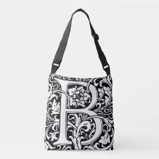 Elegant Vintage Floral Letter B Monogram Crossbody Bag