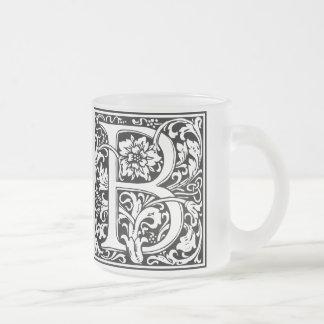 Elegant Vintage Floral Letter B Monogram Frosted Glass Coffee Mug