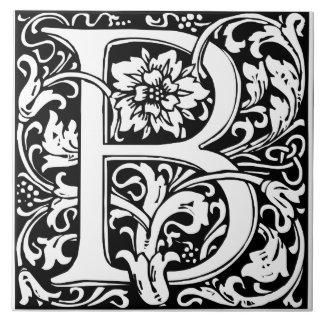Elegant Vintage Floral Letter B Monogram Large Square Tile