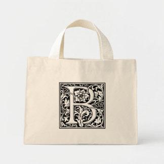 Elegant Vintage Floral Letter B Monogram Mini Tote Bag