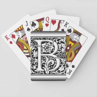 Elegant Vintage Floral Letter B Monogram Playing Cards