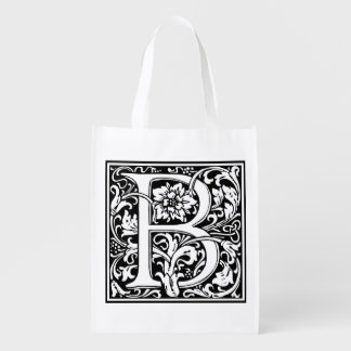 Elegant Vintage Floral Letter B Monogram Reusable Grocery Bag