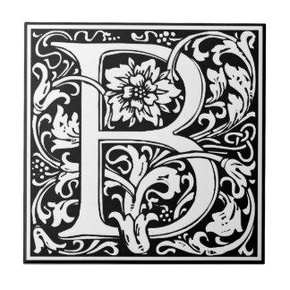 Elegant Vintage Floral Letter B Monogram Small Square Tile