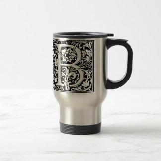 Elegant Vintage Floral Letter B Monogram Travel Mug