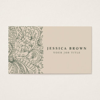 Elegant Vintage Floral line art Business Card