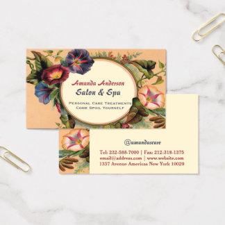 Elegant vintage floral monogram business card