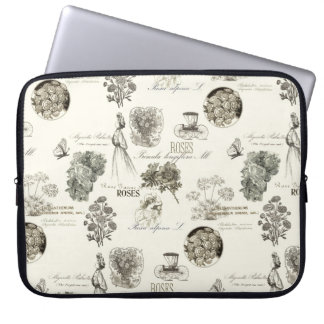 Elegant vintage floral pattern laptop sleeve