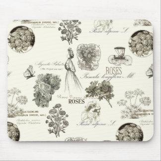 Elegant vintage floral pattern mousepad