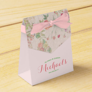 Elegant Vintage Floral Romantic Pink Wedding Favour Box