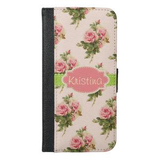 Elegant Vintage Floral Rose Pink Green Name iPhone 6/6s Plus Wallet Case