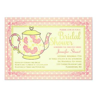 Elegant Vintage Floral Tea Bridal Shower 13 Cm X 18 Cm Invitation Card